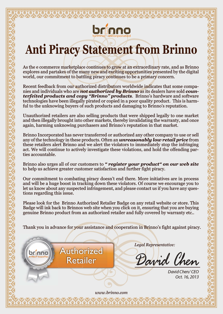 Brinno Anti Piracy Statement
